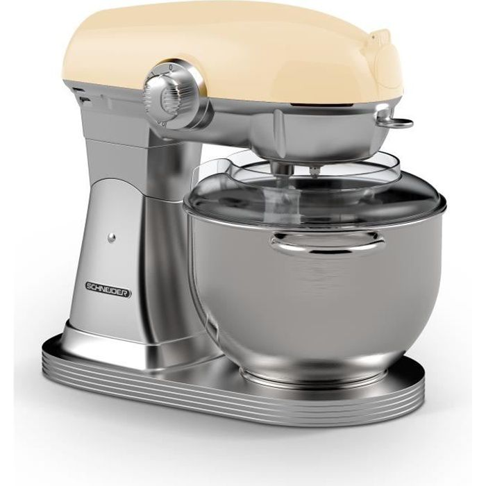 SCHNEIDER SCFP57CR - Robot pâtissier Vintage - bol inox 5,7 litres - 10 vitesses - puissance 1500 watts - coloris crème