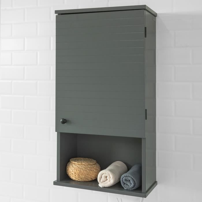 SoBuy® BZR25-DG Meuble Haut Armoire Suspendue de Toilettes Placard Mural avec Porte pour Salle de Bain Armoire à Pharmacie