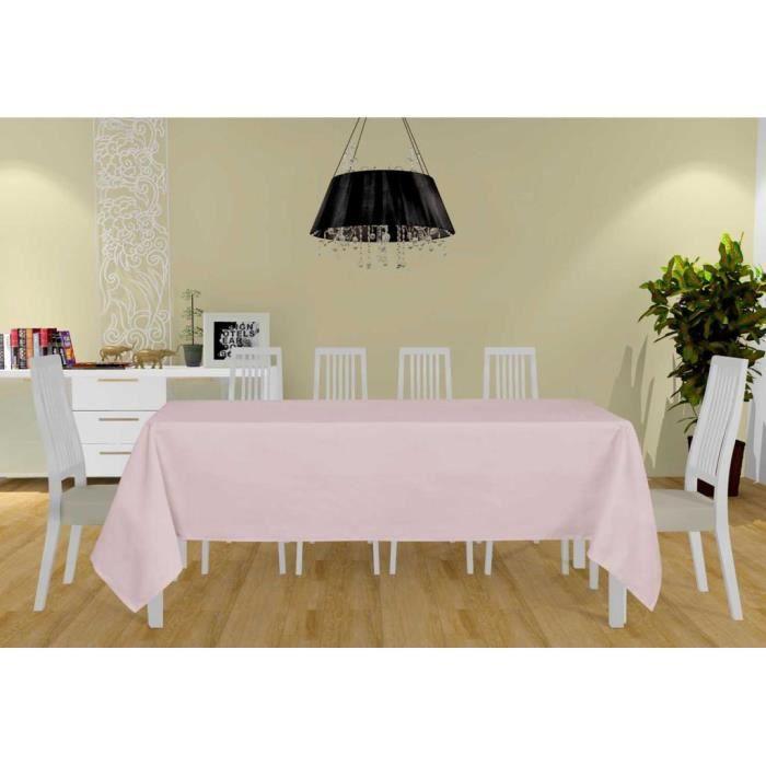 Nappe antitache rectangle 160x270 cm ALIX rose, par Soleil d'ocre. La nappe unie Alix habillera joliment votre table rectangle.