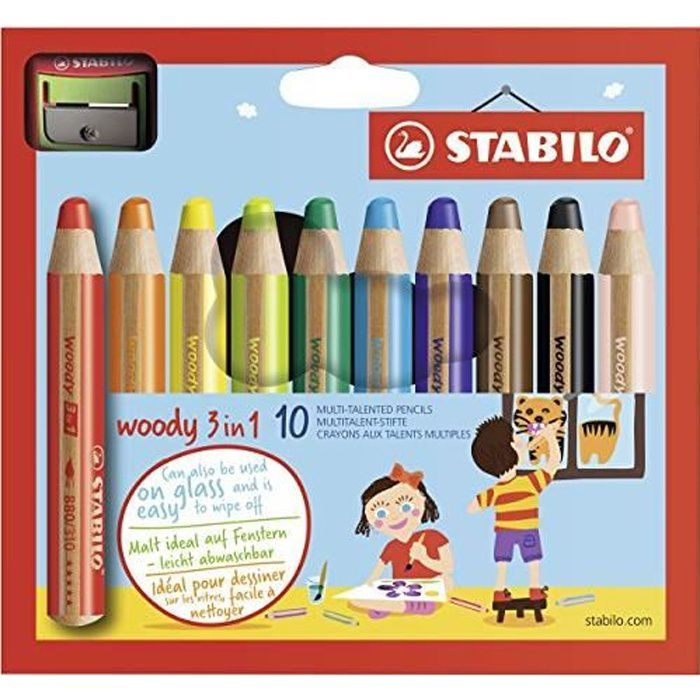 Crayon de coloriage - STABILO woody 3in1 - Étui carton x 10 crayons de couleur + taille-crayon SW880-10-2