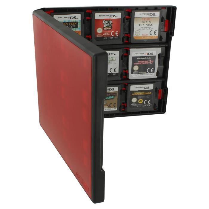 Boîte de rangement Assecure 18 en 1 de style folio système de stockage pour cartouches de jeu Nintendo New 3DS XL, 3DS - Rouge