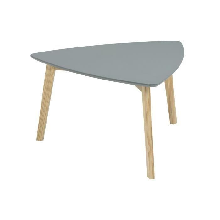 Vitis table basse triangulaire 80x80 cm laqu gris et for Table a manger triangulaire