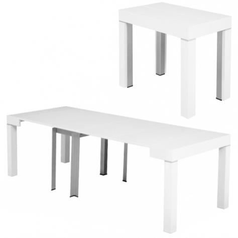 table console extensible blanche laqu e 4 rallonges alesia achat vente console extensible. Black Bedroom Furniture Sets. Home Design Ideas