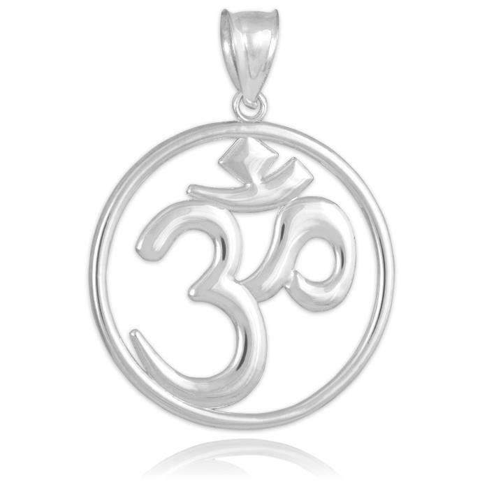 Collier Pendentif14 ct Or Blanc 585/1000 Om (Ohm) Médaillon Ouvertwork-