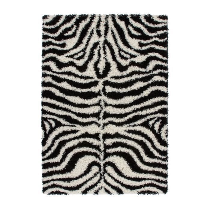 shaggy tapis de salon moderne dessin noir blanc 50mm un poil long 80x150 cm achat vente. Black Bedroom Furniture Sets. Home Design Ideas