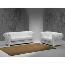 Ensemble canap fixe 3 2 places en cuir blanc chesterfield whitepool l176 x p - Ensemble canape cuir ...