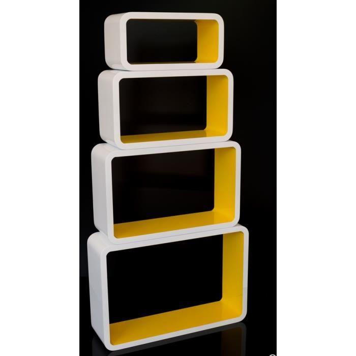 4 etag res cubes murale rangement blanc et jaune achat vente objet d coration murale. Black Bedroom Furniture Sets. Home Design Ideas