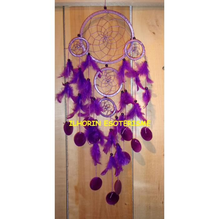 Attrape reves violet 5 cercles dreamcatcher capteur de for Attrape moucheron maison