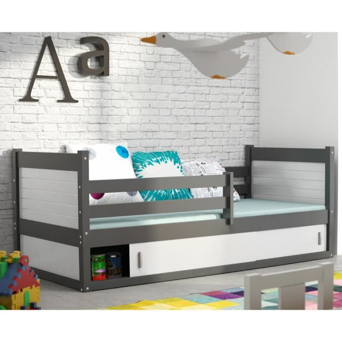 lit enfant rico 1 en pin 200x90 gris achat vente lit. Black Bedroom Furniture Sets. Home Design Ideas
