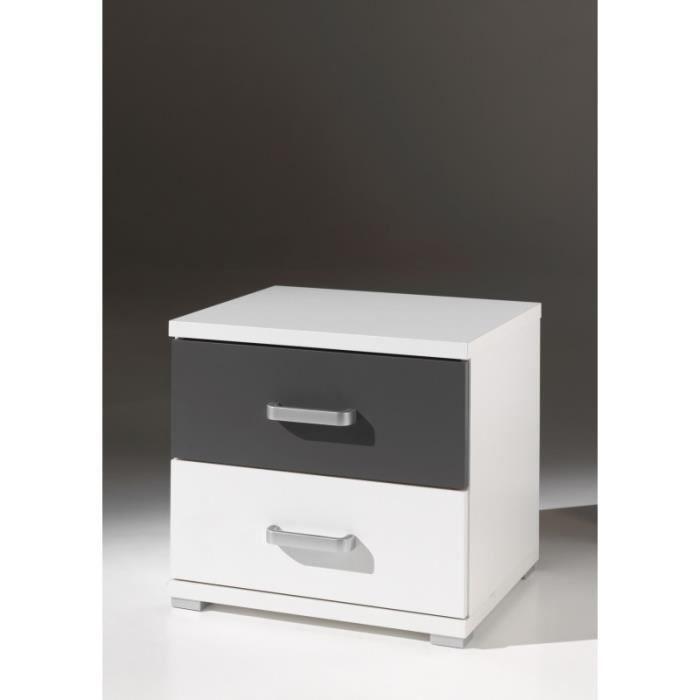 chevet gris PETER blanc de et Table Achat Anthracite wO08kPn
