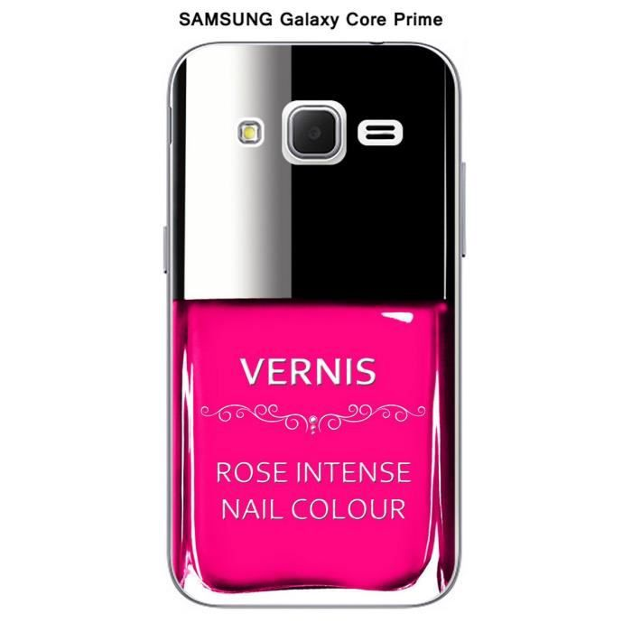 coque samsung galaxy core prime vernis rose intense. Black Bedroom Furniture Sets. Home Design Ideas