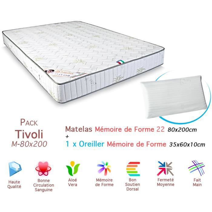 pack matelas tivoli m moire de forme 22 80x200cm achat. Black Bedroom Furniture Sets. Home Design Ideas