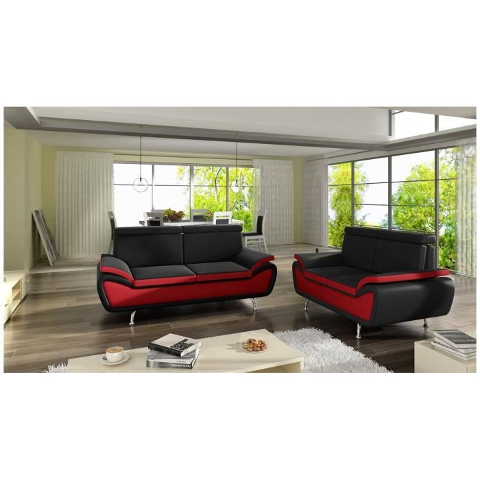 canap vertigo 3 2 places noir et rouge achat vente canap sofa divan cdiscount. Black Bedroom Furniture Sets. Home Design Ideas