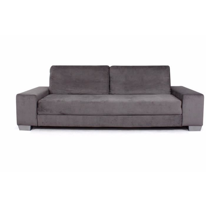 canap convertible 3 places microfibre gris san achat vente canap sofa divan mdf bois. Black Bedroom Furniture Sets. Home Design Ideas