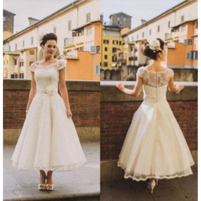 Robe de mariage-marié-bal plage-vintage courte