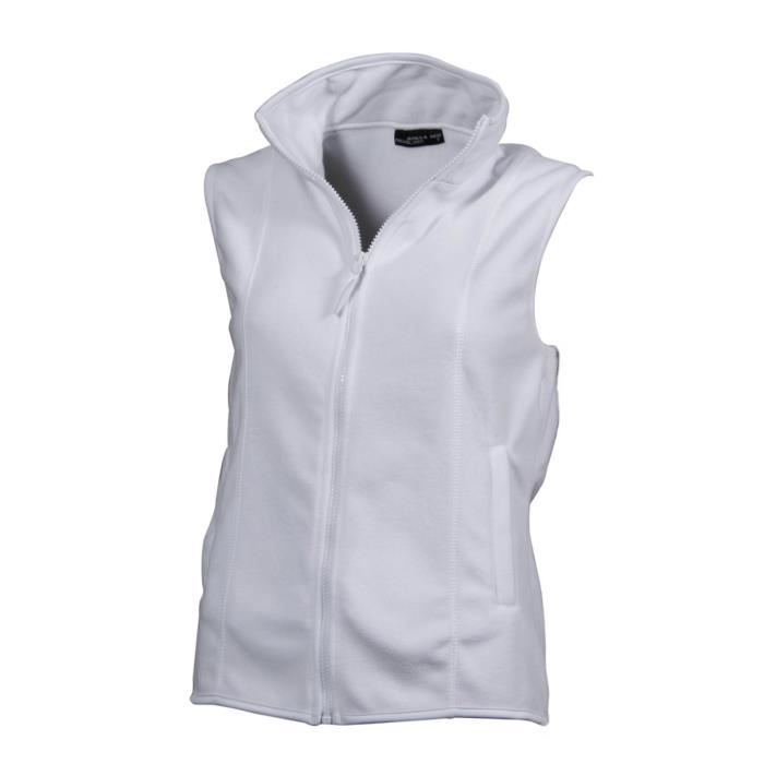 gilet sans manches bodywarmer polaire femme jn048 blanc blanc achat vente blouson de. Black Bedroom Furniture Sets. Home Design Ideas