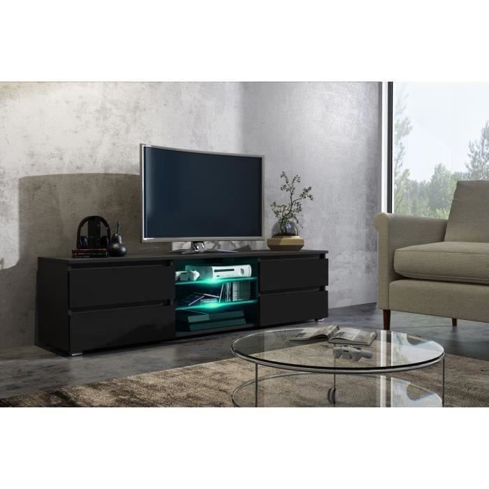 meuble tele noir laque achat vente meuble tele noir. Black Bedroom Furniture Sets. Home Design Ideas
