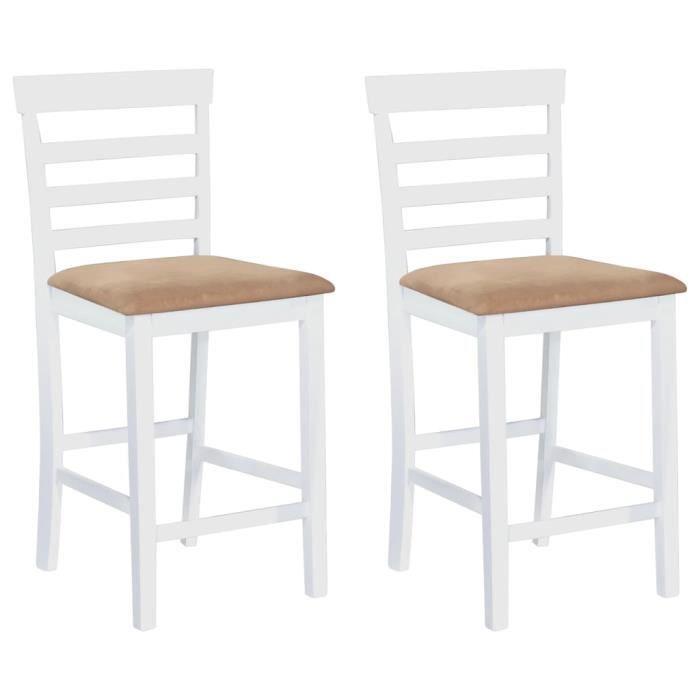 set de 2 chaises de bar en bois blanc beige achat vente tabouret de bar cdiscount. Black Bedroom Furniture Sets. Home Design Ideas