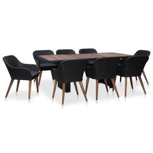 Ensemble table et chaise de jardin Festnight Mobilier de jardin exterieur 9 pcs table