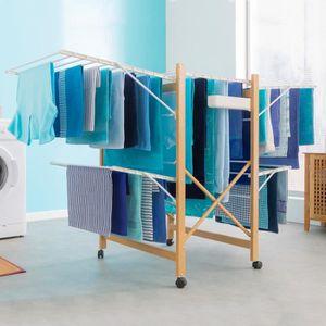 FIL À LINGE - ÉTENDOIR Séchoir Deluxe design imitation bois étendoir exte
