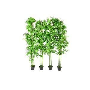 Fasmov Lot de 4 Mini Faux Plantes en Plastique Herbe Verte des Plantes avec Pots