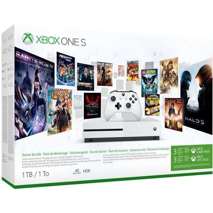 CONSOLE XBOX ONE Xbox One S 1 To 3M Game Pass + 3M Live