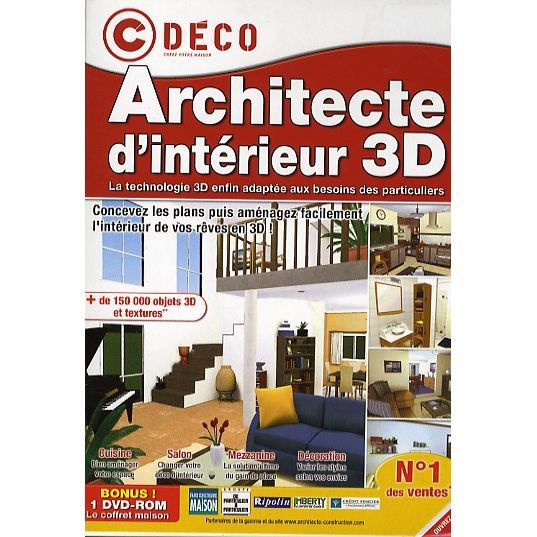 architecte d 39 interieur 3d logiciel pc dvd rom prix pas. Black Bedroom Furniture Sets. Home Design Ideas