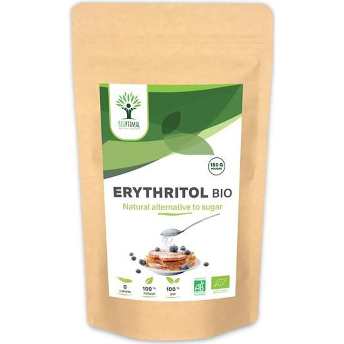 Erythritol - Bioptimal - Erythritol Bio - Zéro Sucre Zero Calorie - Poudre d'Erythritol - Sucre Alternatif - Certifié Ecocert - 150g