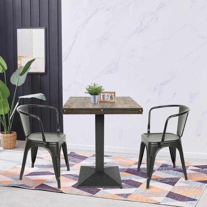 Table bistrot de jardin avec plateau carré en bois et pied en acier noir 60*60*75 cm pour 2 à 4 personnes