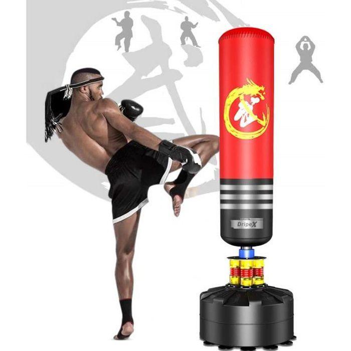 Sac de Frappe sur Pied Boxe Adulte Debout Libre Robuste Sac de Punching Kick Appareil d'entraînement - 1.75M - Rouge