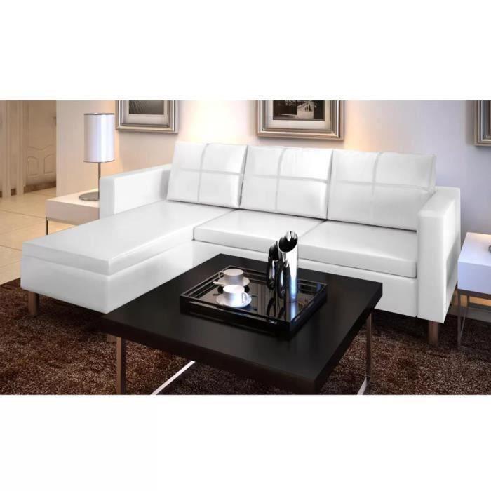 Canapé d'angle réversible convertible 3 places - Cuir synthétique haute qualité- Contemporain - Blanc - 188 x 122 x 77 cm