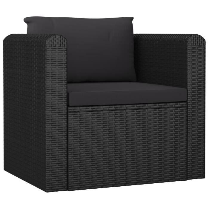Fauteuil Relaxation Fauteuil Relax Confortable - Fauteuil Salon avec coussins Résine tressée Noir Nouveau *375159