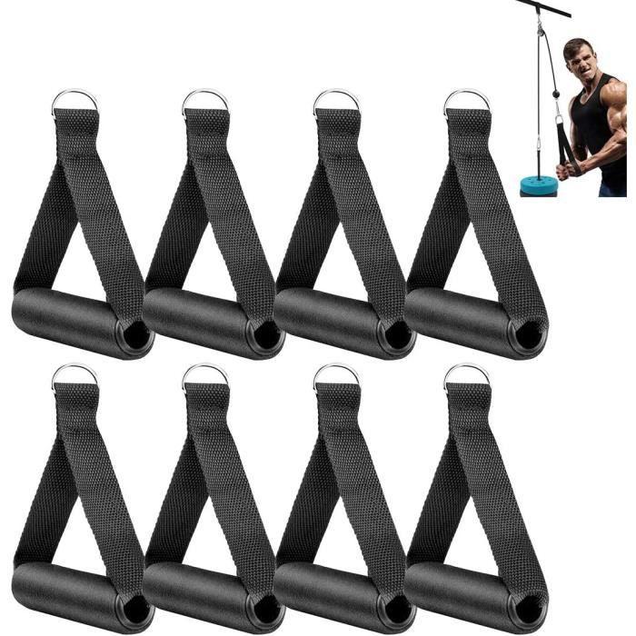 Extenseurs Xiuyer Poign&eacutee Tirage Musculation, 8pcs Durable Mousse Nylon Sangle Musculation Accessoire Poign&eacutees R&e24