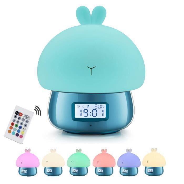 Réveil Enfant Garcon Éducatif, Lapin Lampe Veilleuse Lumiere, Reveil Digital Pile Bleu Para Enfant, Double Cloche,11 Sons,7