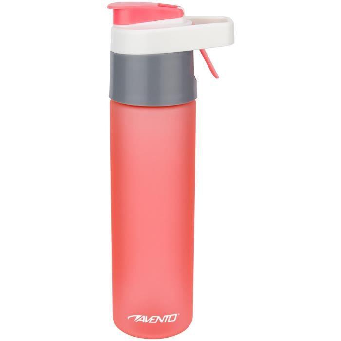 AVENTO Gourde spray 2 en 1 - Plastique Tritan - Taille : 26 cm - Capacité : 0,6 L - Ø : 6,5 cm - Rose