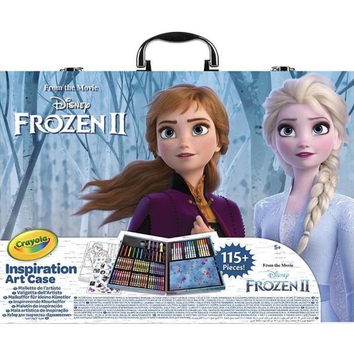 Crayola étui couleur Disney Frozen II bleu/blanc 113 pièces