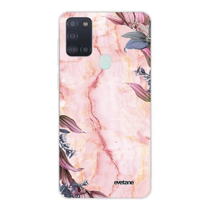 Coque Samsung Galaxy A21S 360 intégrale transparente Marbre Fleurs Ecriture Tendance Design Evetane.