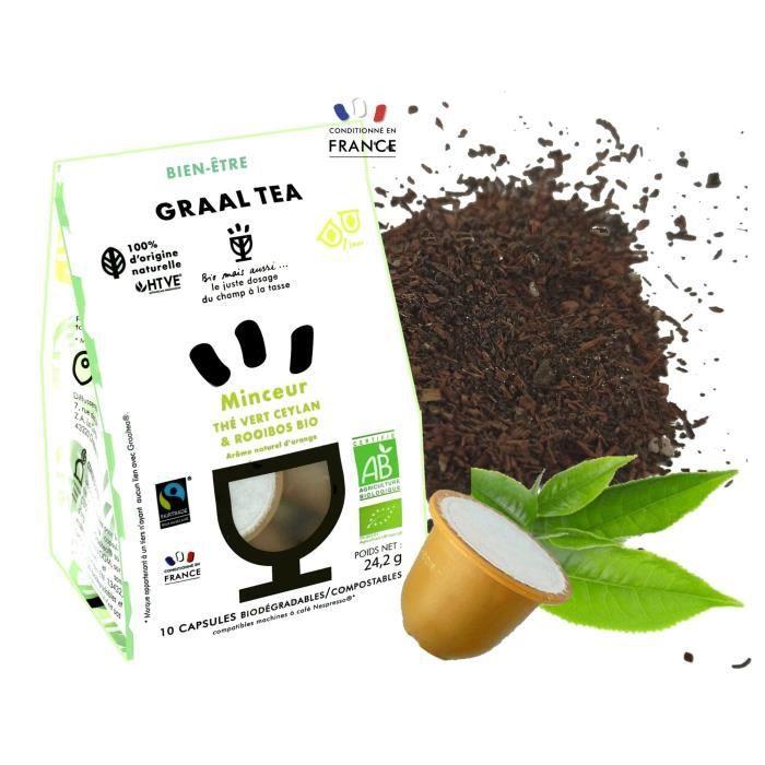 GRAALTEA - Thé Bien-Être - Minceur BIO en Capsule - 100% d'Origine Naturelle - Made in France - 1 Paquet x 10 Capsules - Compatible
