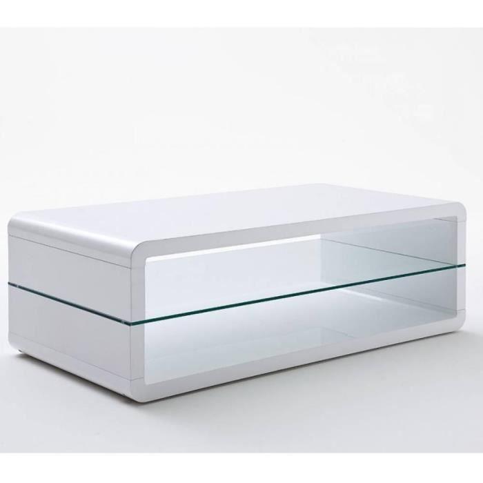 Table basse design AGEN laquée blanc brillant plateau inférieur en verre blanc bois Inside75