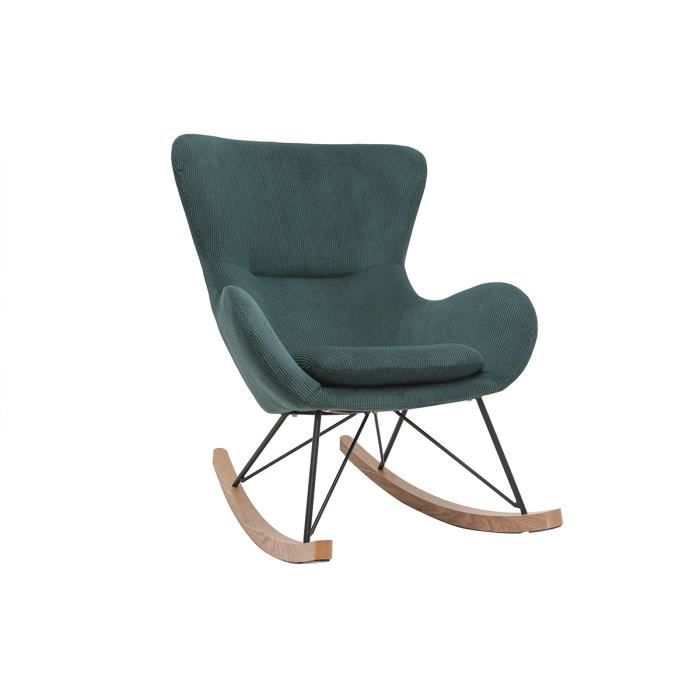 Miliboo - Rocking chair design velours côtelé vert ESKUA
