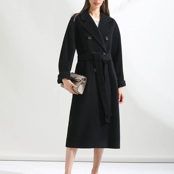 Trench Femme Coupe-vent Outwear Slim Fit à revers long @Noir