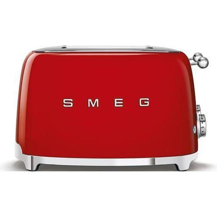 SMEG Grille Pain 4 tranches Années 50 - 2000W Rouge TSF03RDEU