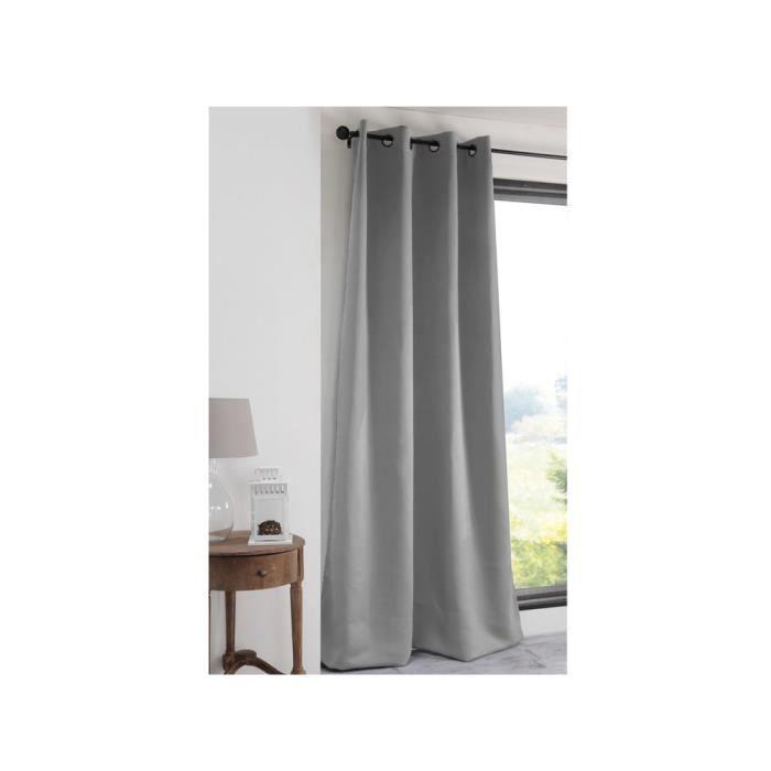 Rideau occultant à œillets uni polyester NOTTE - Gris - 135x180cm