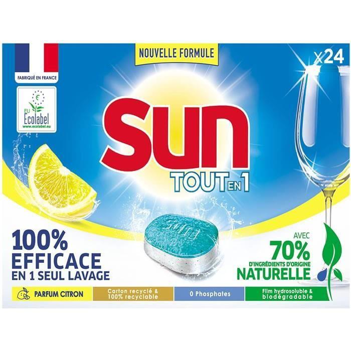 LOT DE 7 - SUN Tout en 1 Citron - Tablettes lave-vaisselle - 24 tablettes