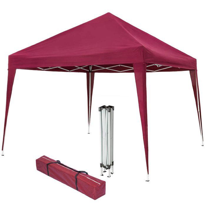 TECTAKE Tonnelle de jardin Pliante Autoportante 3 m x 3 m Rouge + Sac de transport