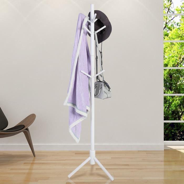 Portemanteau en bois de style d'arbre de 9 crochets Porte-manteau multifonctionnel pour chapeau/manteau/veste/parapluie(blanc)--SEV