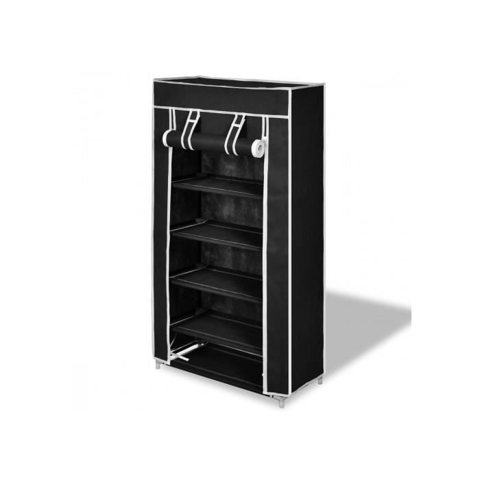 meuble chaussures en tissu small noir achat vente. Black Bedroom Furniture Sets. Home Design Ideas
