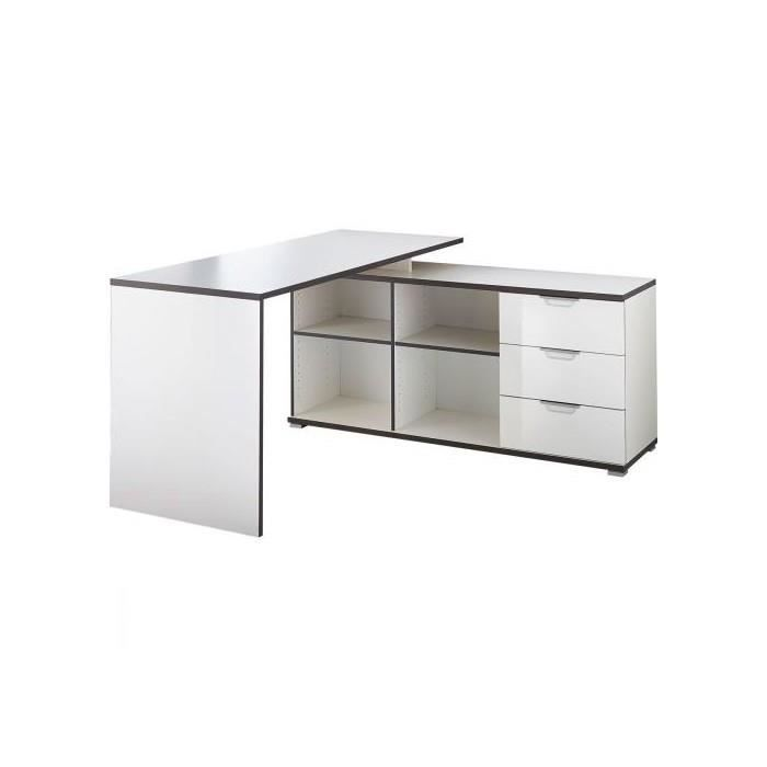 bureau d 39 angle bicolore blanc anthracite 145 cm achat vente bureau bureau d 39 angle bicolore. Black Bedroom Furniture Sets. Home Design Ideas