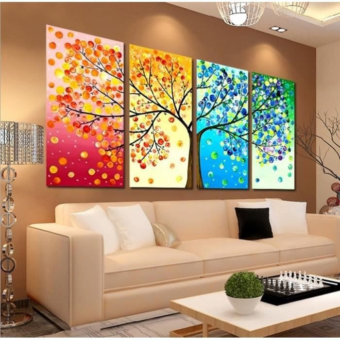 Unframed four seasons arbre toile mur peinture art for Photo comment ideas