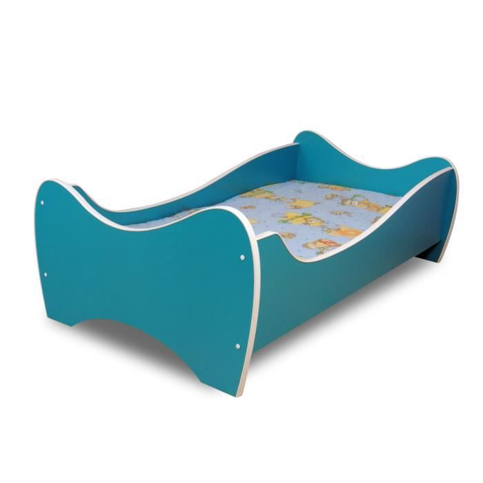lit enfant turquois sommier matelas 140x70 cm achat. Black Bedroom Furniture Sets. Home Design Ideas